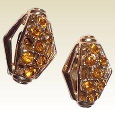 Vintage Gold Tone Metal Citrine Rhinestone Clip Earrings