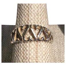 Vintage Sterling Silver Heart Motif Ring Size 8 1/4