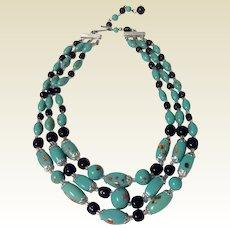 Vintage Floral Motif Spun Glass Three Strand Necklace