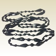 "Vintage Jet Black Glass Faceted Bead 58"" Necklace"