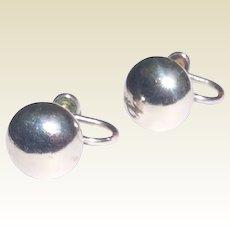 Vintage Sterling Silver 925 Ball Screw Back Earrings