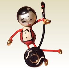 Vintage Japanese Banjo Playing Doll Brooch