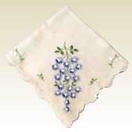 Vintage White Scalloped Edge Hankie Blue & White Flowers