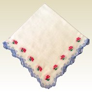 Vintage White Hankie With Blue Scalloped Edge & Pink Roses