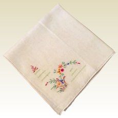 Vintage White Hankie With Drawn Work & Floral Spray