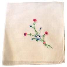 Vintage White Cotton Hankie With Embroidered Floral Spray