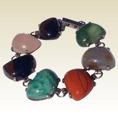 Antique Arts & Crafts German 835 Silver Gate Rose Quartz & Tiger Eye Bracelet