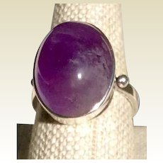 Antique Arts & Craft Genuine Amethyst Cabochon Sterling Silver Ring Size 6 1/2