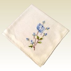 Vintage White Cotton Hankie With Embroidered Blue Rose Stem