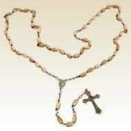Early Italian Silver Tone Metal Cream Colored Bead Rosary
