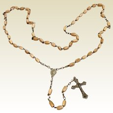 Early Italian Silver Tone Metal Cream Colored Bead Rosary