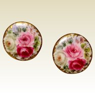 Victorian Hand Painted Porcelain Stud Buttons