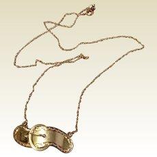 Vintage 14 K Gold Child's Buckle Barrette Conversion Necklace