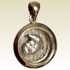 Vintage Sterling Silver Dolphin Spinning Pendant
