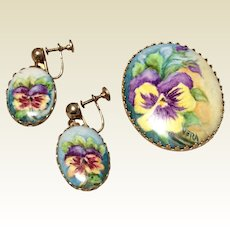 Vintage Hand Painted Pansy Brooch & Dangle Earrings