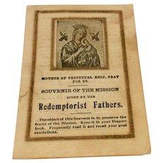 Vintage Souvenir Of The Mission Redemptorist Fathers