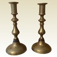 Pair 19th Century Solid Brass Candlesticks