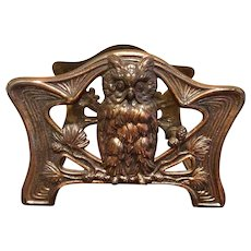 Antique Brass Plated Expandable Owl Book Rack By Judd