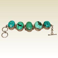 Vintage Handmade Sterling Silver Large Turquoise Statement Bracelet