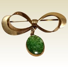 Vintage Winard 12 K Yellow Gold Filled  Bow Brooch With Turquoise Dangle