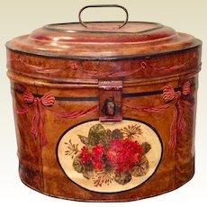 Antique English Metal Faux Grain Tole Painted Large Hat Box