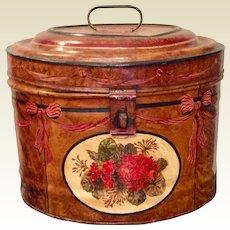 Antique English Metal Faux Grain Tole Painted Large Hat Box