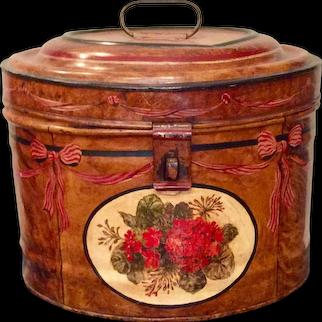 English Metal Faux Grain Tole Painted Hat Box Antique