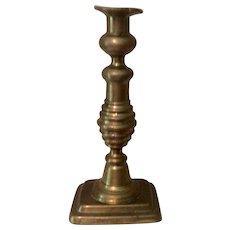 Push Up Brass Candlestick 19th Century