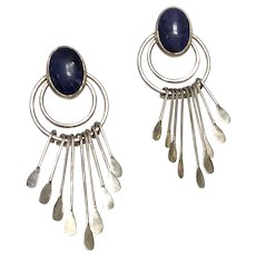 Vintage Mexican Modernist Sterling Silver Black Lapis Earrings