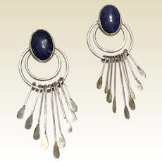 Vintage Mexican Modernist Sterling Silver Black Lapis Earrings