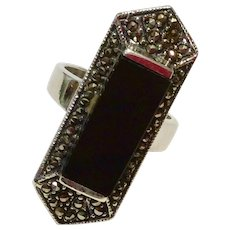Vintage Sterling Silver Marcasite Black Onyx Ring