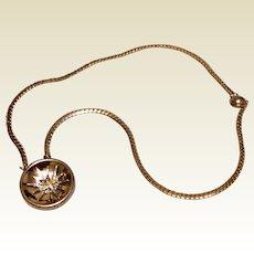 Vintage Gold Tone Metal Eastern Star Pendant Necklace