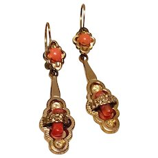 Antique Victorian Gold Filled Coral Dangle Earrings - Red Tag Sale Item