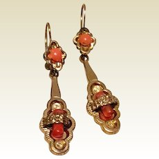 Antique Victorian Gold Filled Coral Dangle Earrings