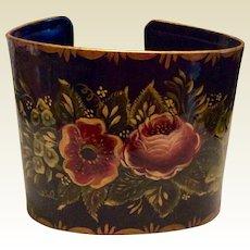 Vintage Metal Toleware Cuff Bracelet