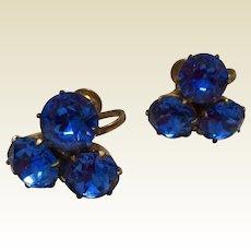 Vintage Sapphire Blue Rhinestone Screw Back Earrings