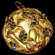 Art Nouveau Gold Filled Green & Clear Paste Rhinestone Double Photo Repousse Locket