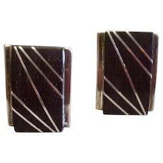 Vintage Taxco Mexico Sterling Silver Black Cufflinks