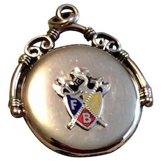 Antique Victorian 10K Gold Shell Knights Of Pythias Watch Fob Double Photo Locket