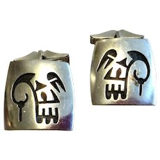 Vintage Sterling Silver Mexican Motif Cuff Links