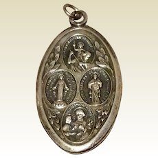 Vintage Sterling Silver Four Way Catholic Miraculous Medal