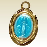 Vintage Gold Tone Metal Enamel  Miraculous Medal