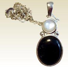 Vintage Sterling Silver Black Onyx MOP Pendant Necklace