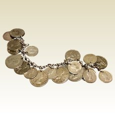 Vintage Sterling Silver English Canadian Coronation Coin Bracelet