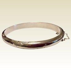 Vintage Sterling Silver Hinged Bangle Bracelet