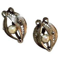 Vintage Sterling Silver Faux Pearl Screw Back Earrings
