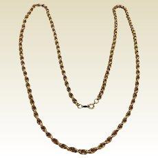 "Vintage  12 K Gold Filled 30"" Rope Chain"