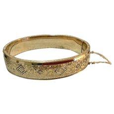 Vintage 10 K Gold Filled Dunn Bros. Hinged Bangle Bracelet