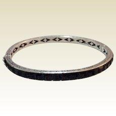 Art Deco Sterling Silver Black Rhinestone Paste Hinged Bangle Bracelet