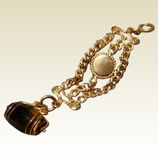 Vintage Gold Filled Vest Watch Chain With Spinning Brown Agate Fob